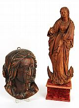 Two Carved Wood Sculptures of the Madonna