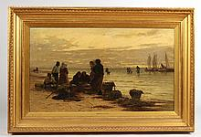Oil on Canvas, Clam Gatherers, Heinrich Rasch