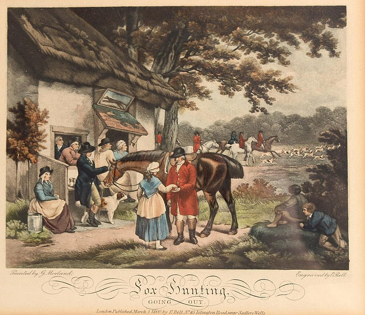 Four Engravings, Fox Hunting, George Morland