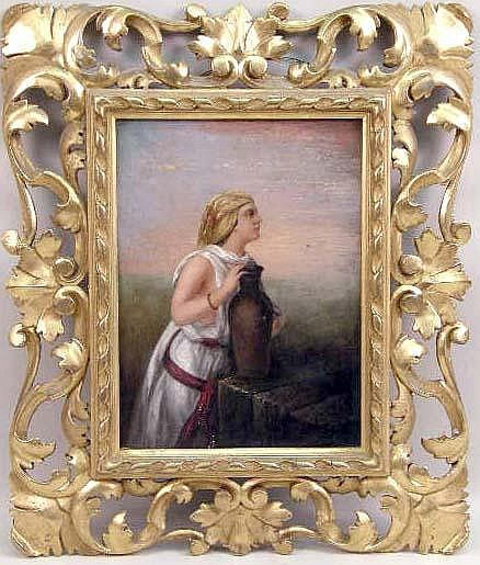 AN OIL ON CANVAS, A NEOCLASSICAL STUDY OF A PEASANT WOMAN WITH JUG