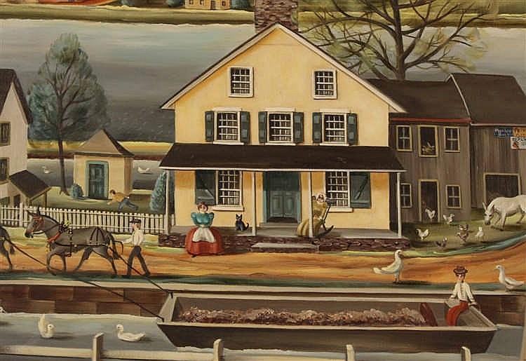 Oil On Canvas Canal Scene Jean Halter