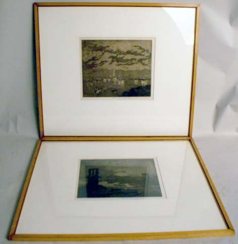 TWO FRAMED AQUATINT ETCHINGS