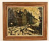 Oil on Canvas, Snowy Paris Street, Oliver Foss, Oliver Foss, $125