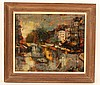 Oil on Canvas, Parisian Street Scene, Oliver Foss, Oliver Foss, $70