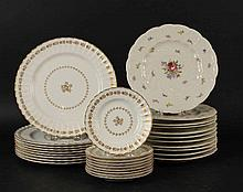 Eleven Black Knight Floral-Decorated Plates