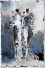 Two Figure Study No 5 - mixed media original painting