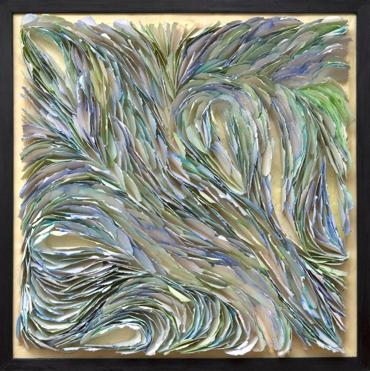 He Brings Me Blue Hydrangeas - handmade paper - mixed media art