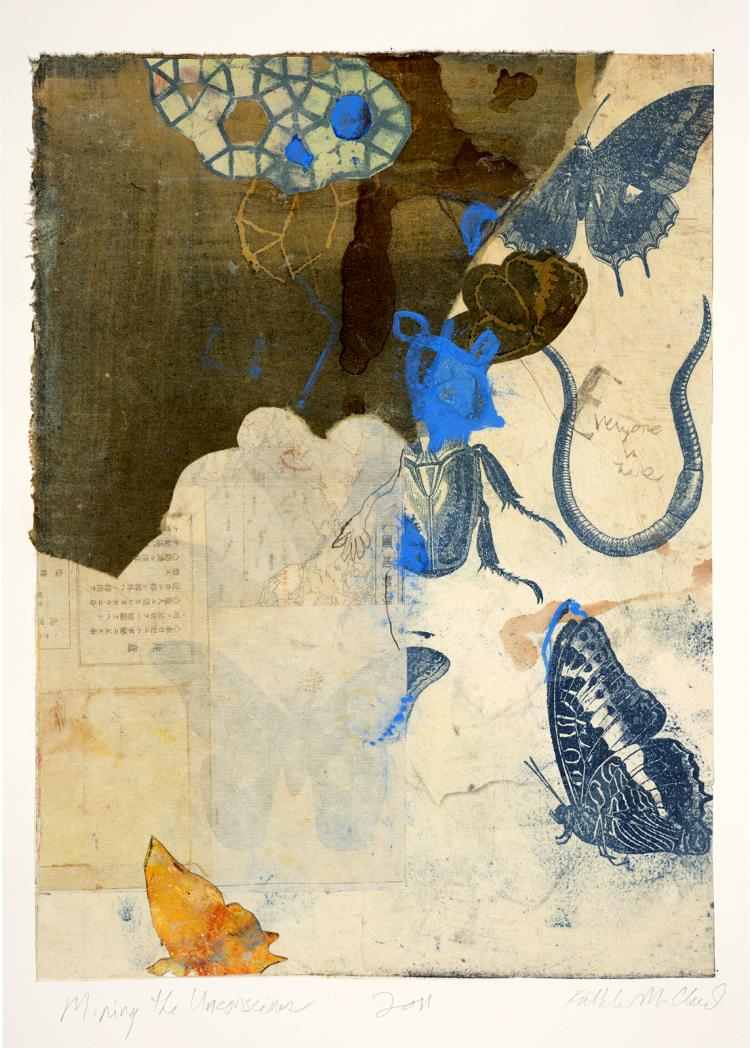 Mining The Unconscious - Original Monotype Collage Print