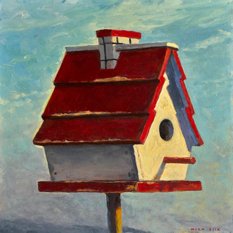 Birdhouse in the West - Original Oil Painting