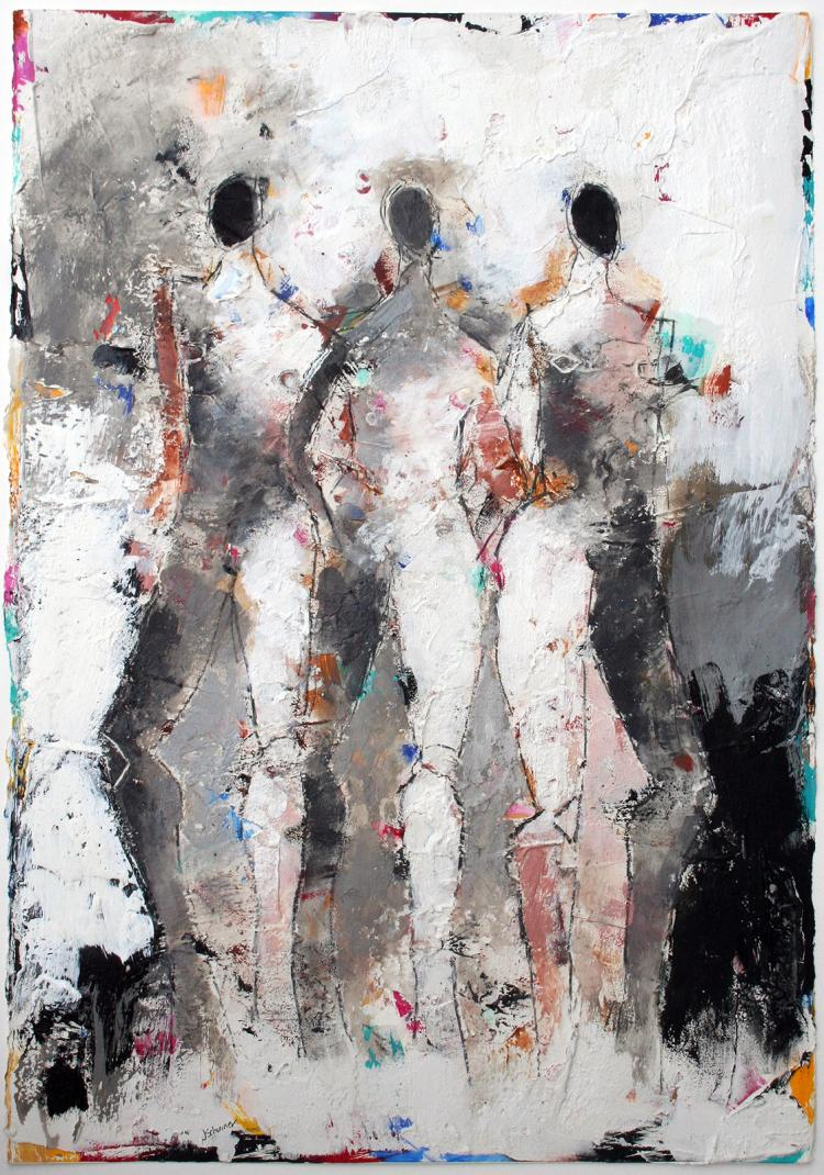 Figures 3 No. 101 - original mixed media painting
