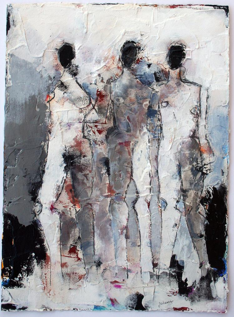 Figures 3 No. 104 - original mixed media painting