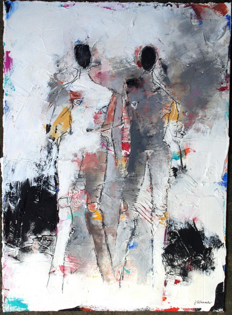 Figures 2 No. 103 - original mixed media painting