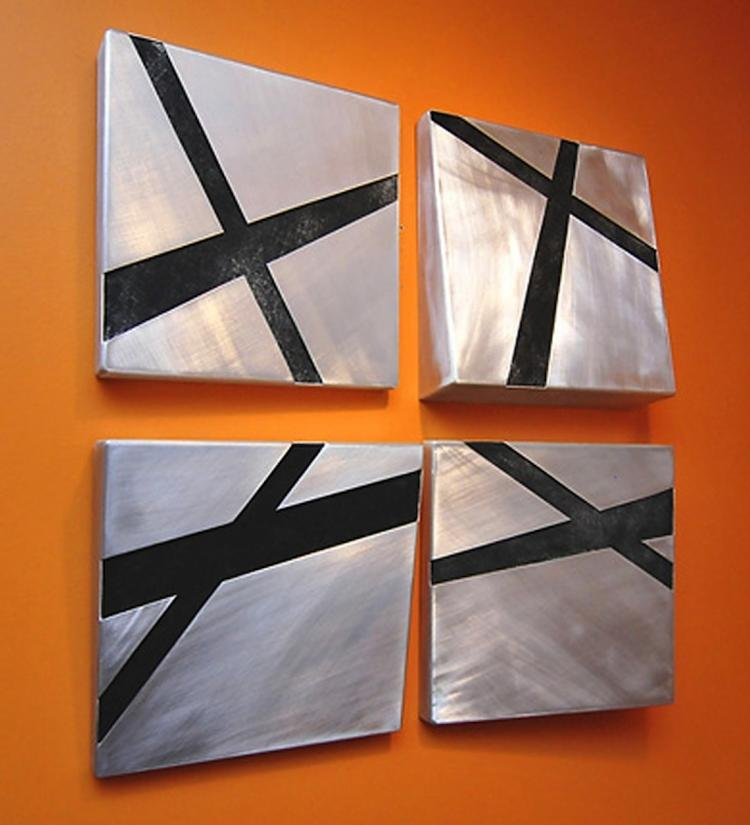 Cross Product - Oil and Aluminum Abstract Painting