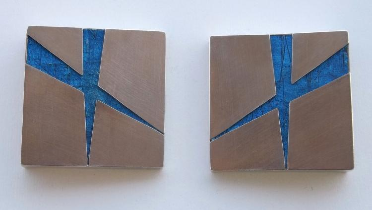 Degree 60 Blue - Oil and Aluminum Abstract Painting