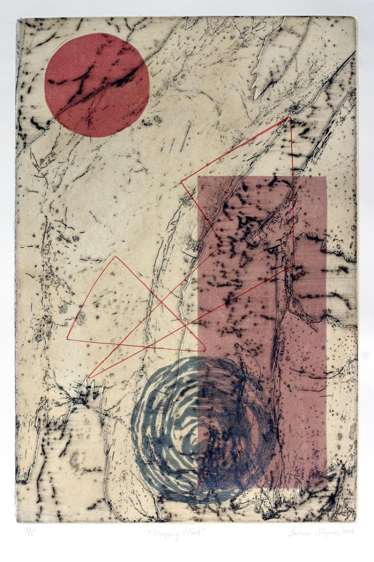 Mapping Efforts - Original Abstract Etching
