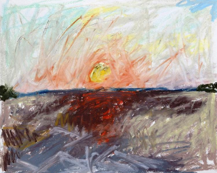 Sunset, Tidal Flats - Oil Pastel on Paper