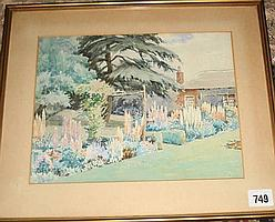 Watercolour - a spring garden signed Elsie W Neve