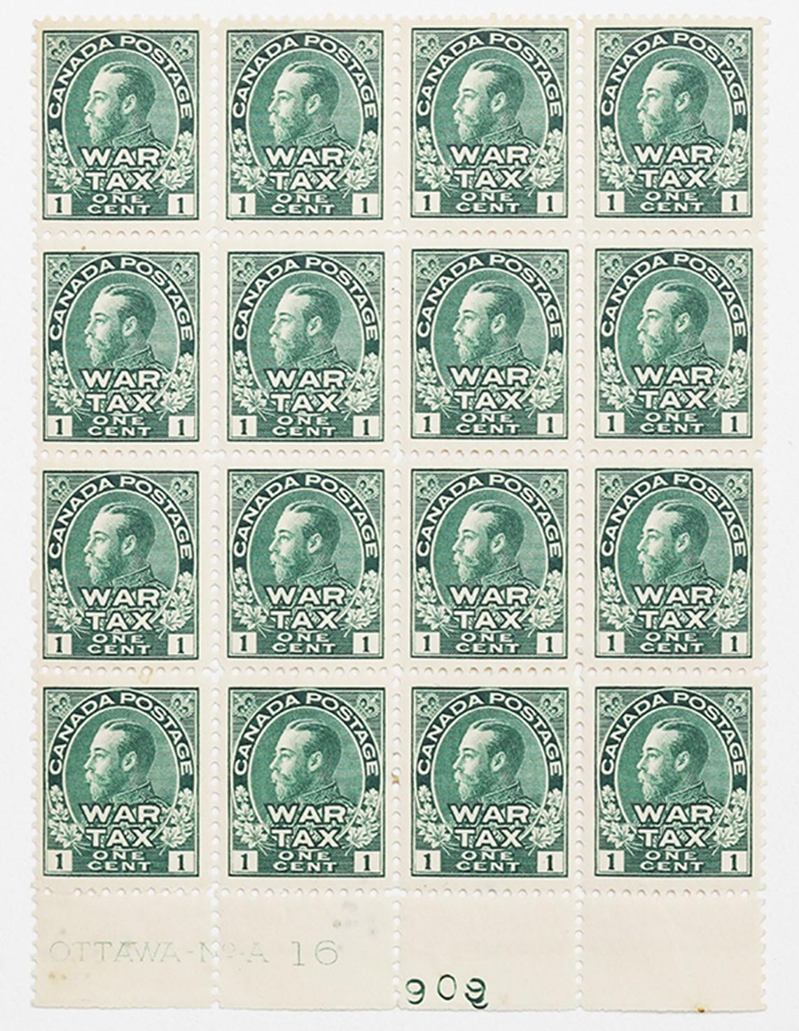 Canada- Rare War Tax FF MRI VF/XF OG Block of 16
