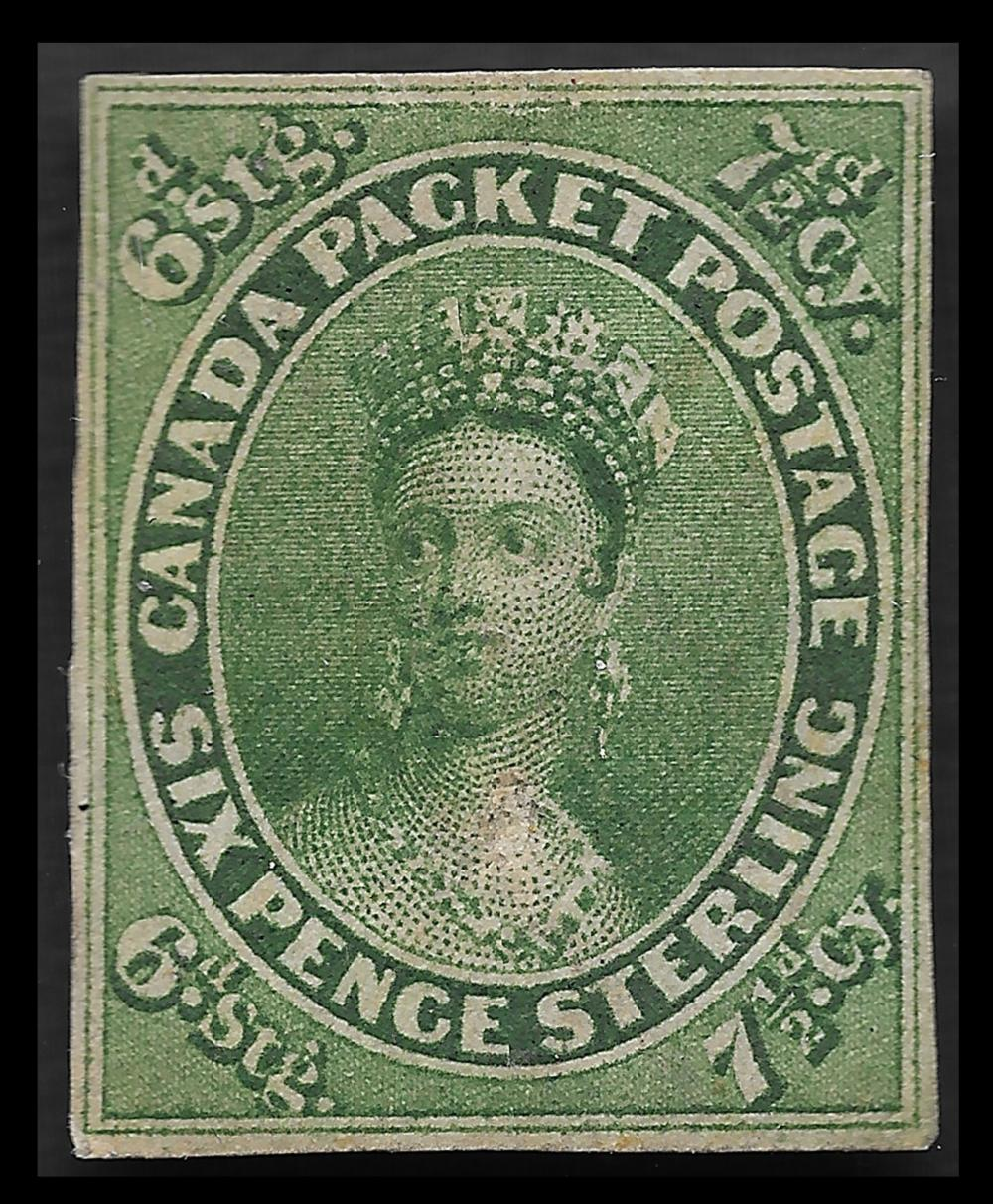 Province of Canada 1857 7 1/2d Green S/C #9 MLH VF