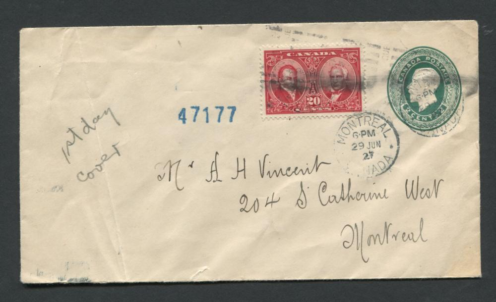 Canada 1927 First Day Cover #148, #E3 Stamp