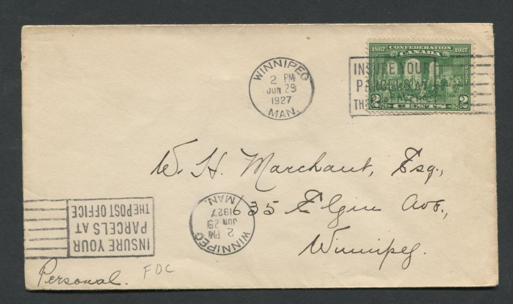 Canada 1927 First Day Cover #142 2c Green Stamp