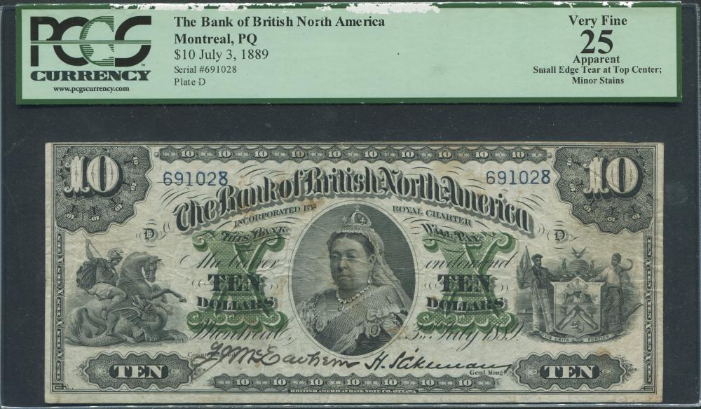 Canada 1889 $10 Banknote PCGS 25 VF