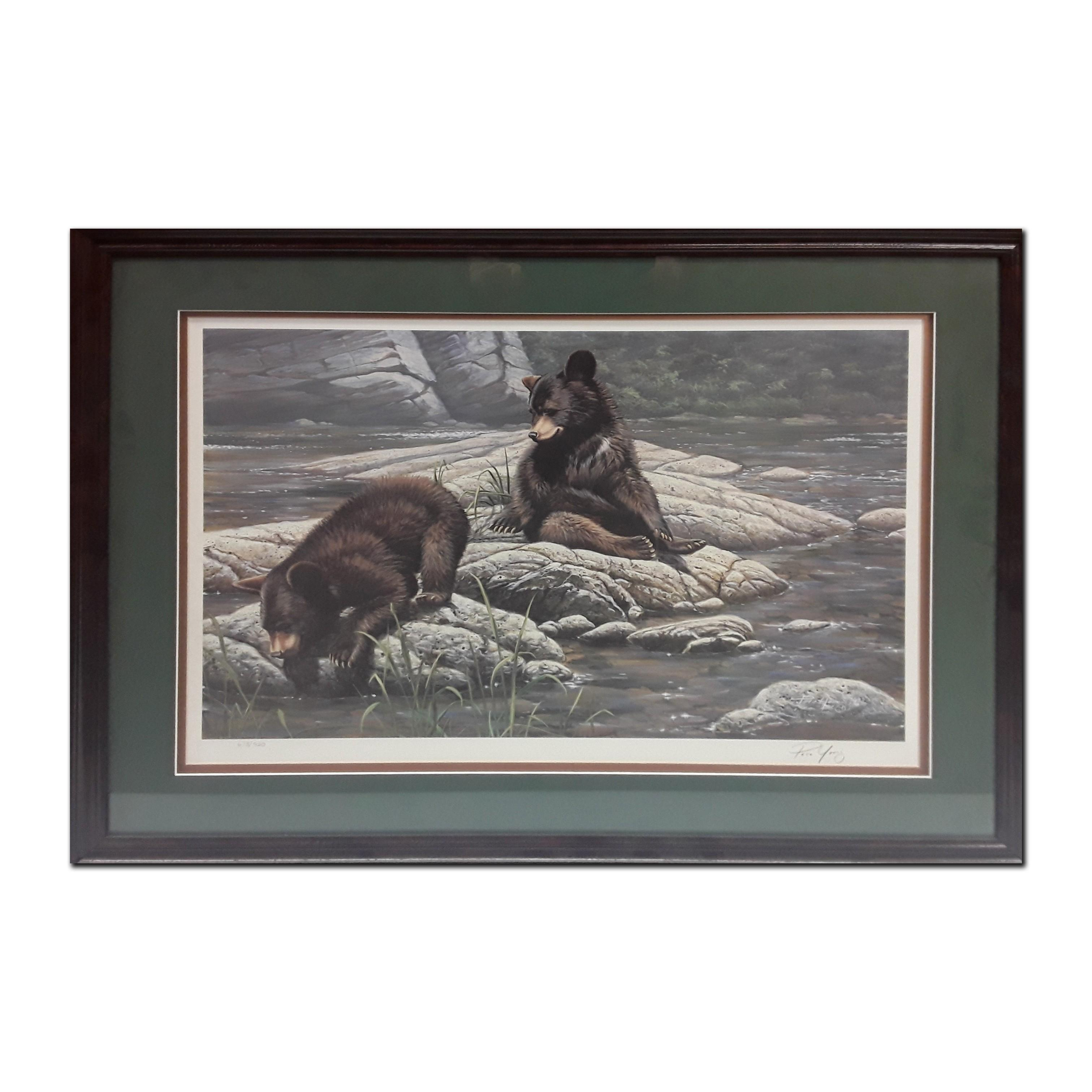 "Paco Young's ""The Adventurers- Black Bear Cubs"" Limited Edition Framed Print"
