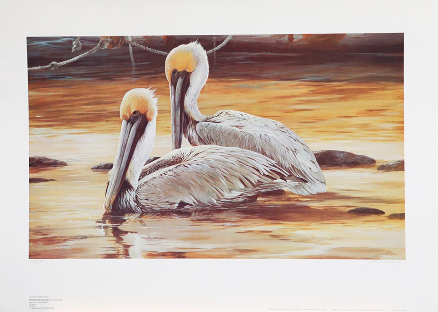 "Mario Fernandez's ""Sunset Fishermen - Brown Pelicans"" Limited Edition Print"