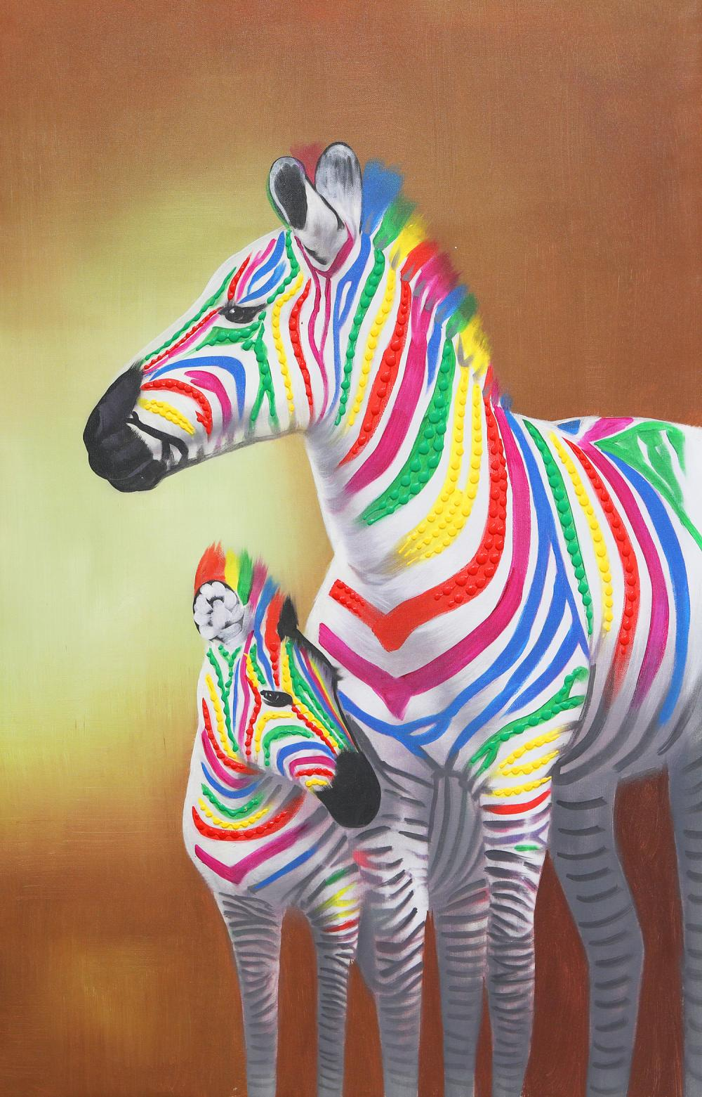 Colourful Zebra on Canvas