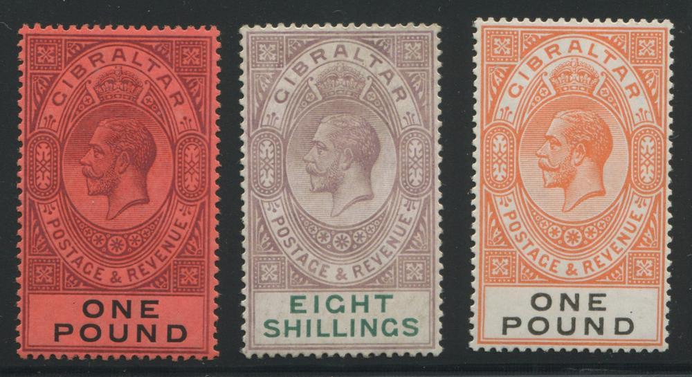 Gibraltar 1912-1921 #75, 90, 92