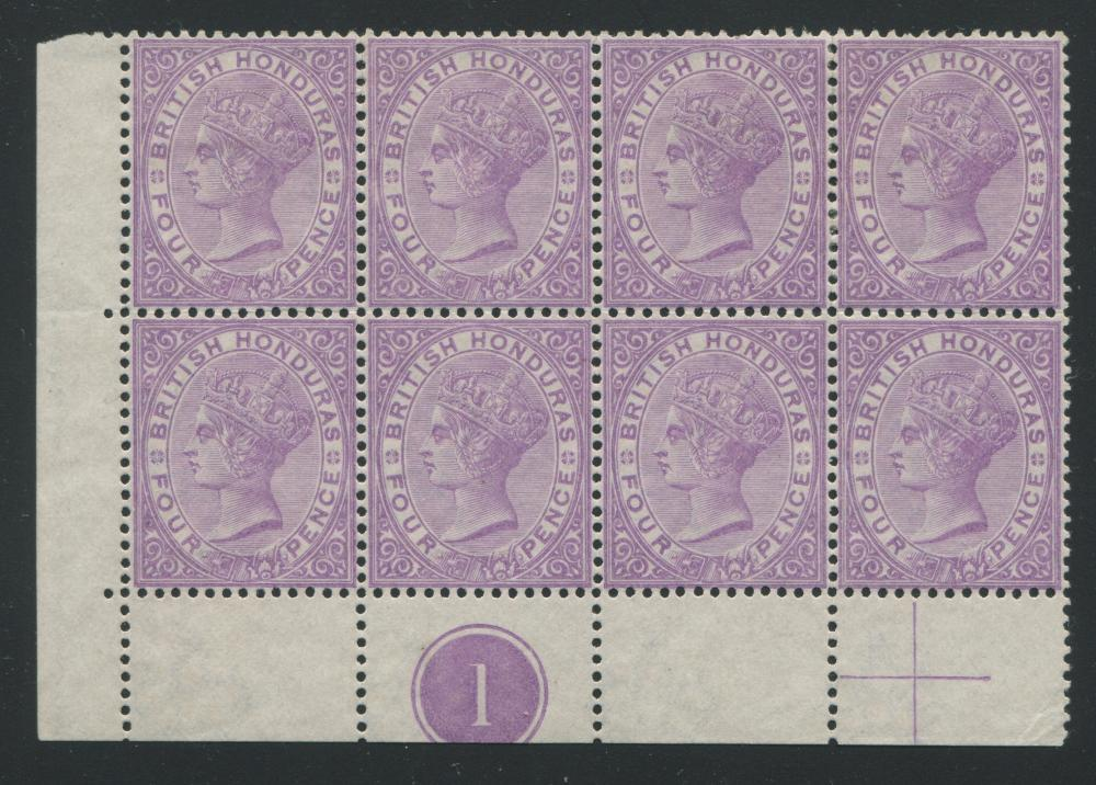 British Honduras 1882-1887 #15 4 Pence Violet Block of 8