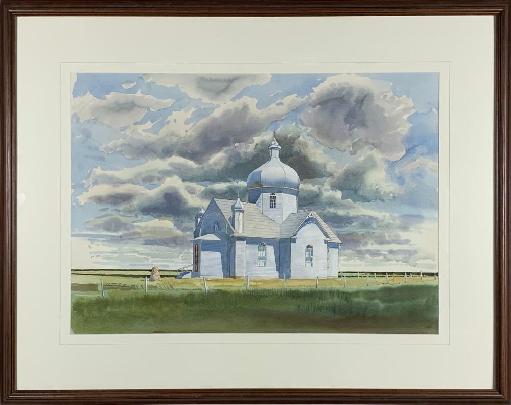 """Jack Reid's """"Prairie Church"""" Original Watercolour"""