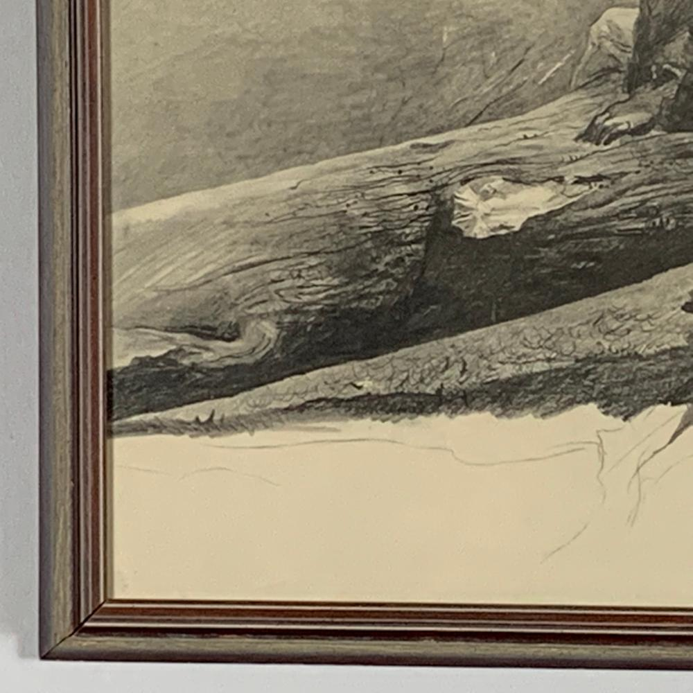 """Andrew Wyeth """"Study For April Wind"""" Black and White Pencil Sketch"""