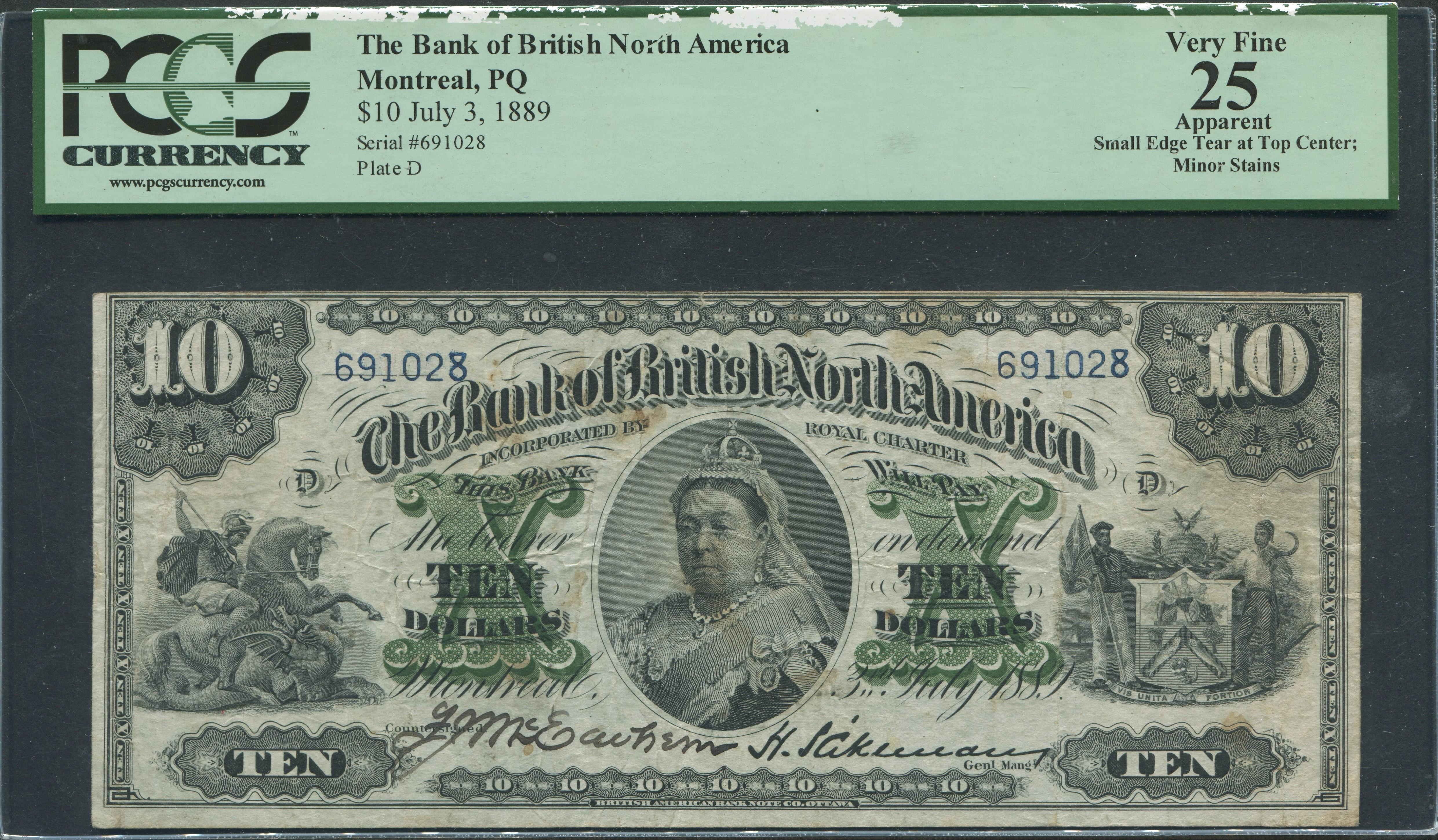 Canada 1889 $10 Bank Note PCGS 25 VF