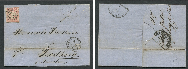 Germany Stamped Envelope Posted 1867 Augsberg