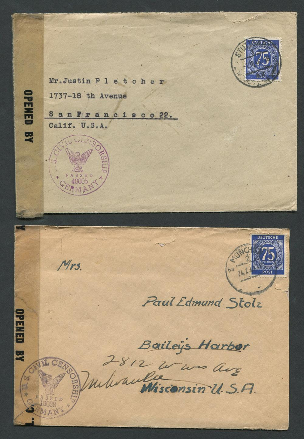 Germany Stamped Letters 'US Sensored'