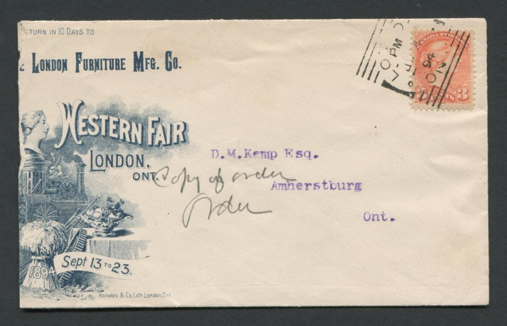 Canada 1894 3c Advertising Cover RARE
