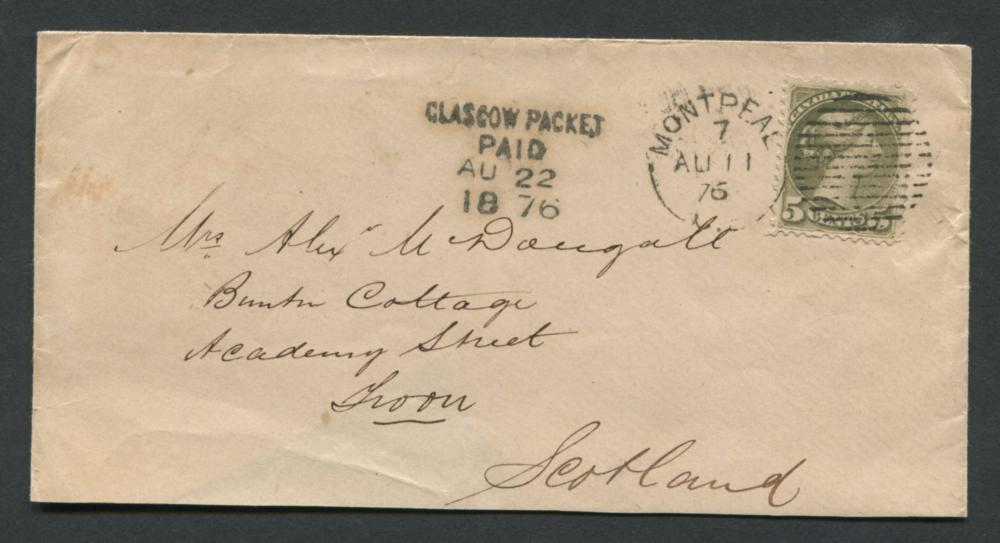 Canada Stamp Cover #42 5c Grey 1876