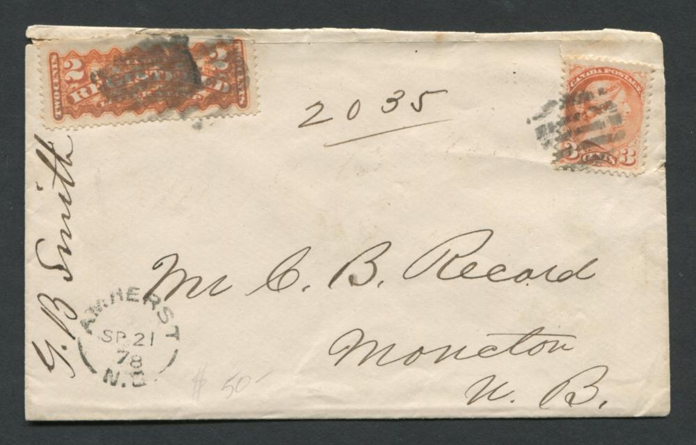 Canada Stamp Cover 1878