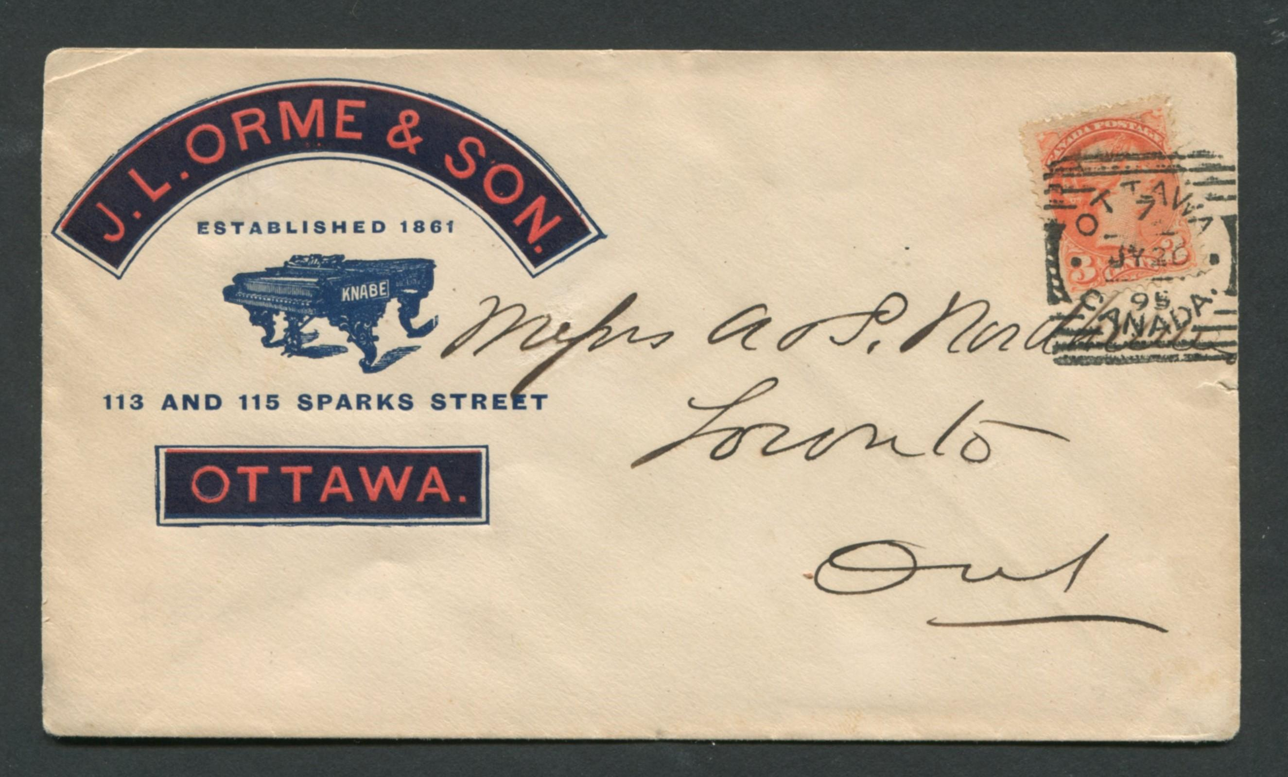 Canada Advertising Cover 1895 RARE