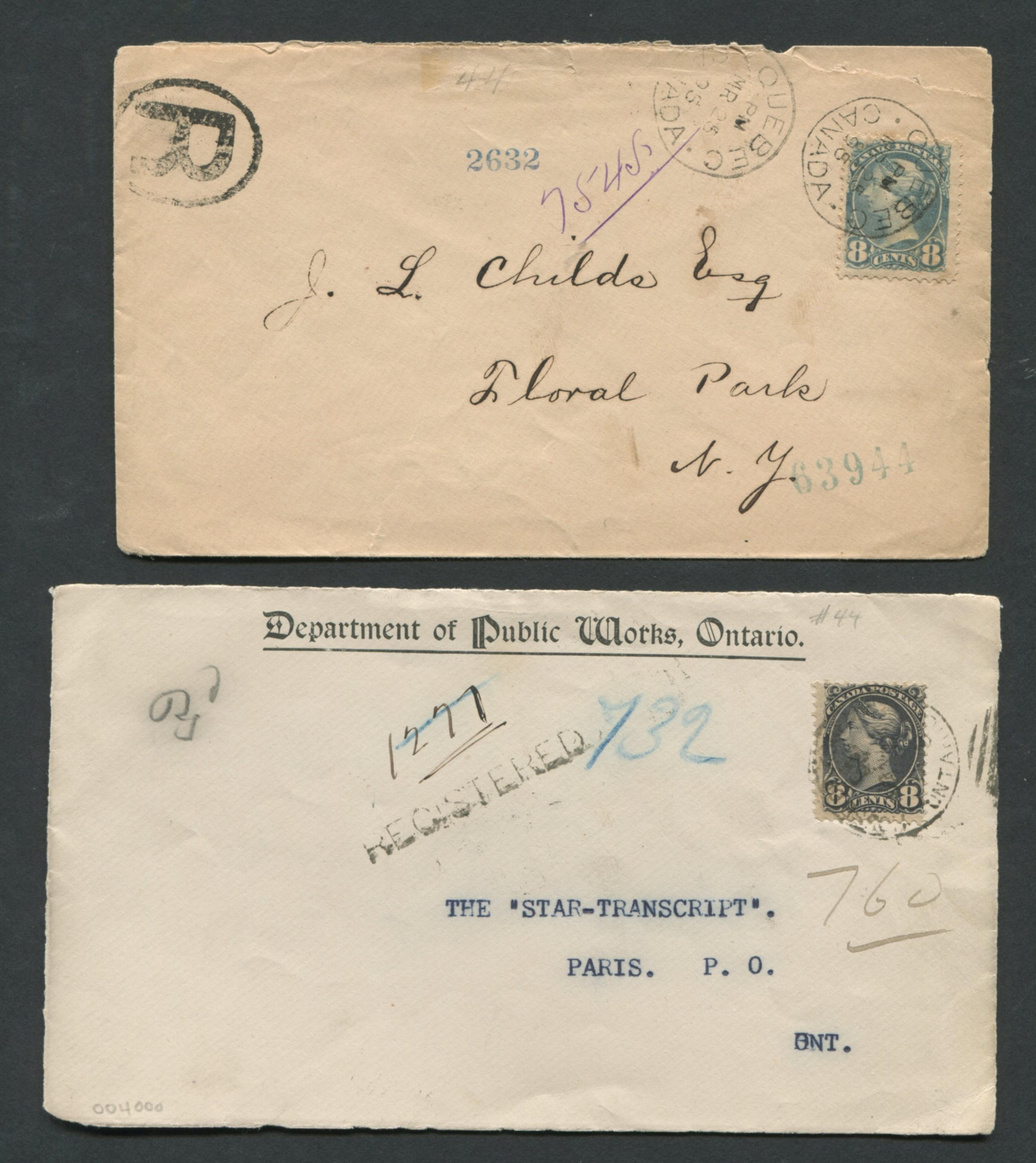 Canada Stamp Covers Regsitered 1893, 1895