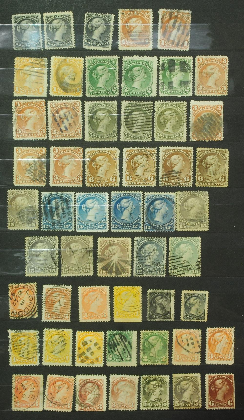 Canada Queen Victoria Stamp Collection - 68 stamps, Small & Large Queens