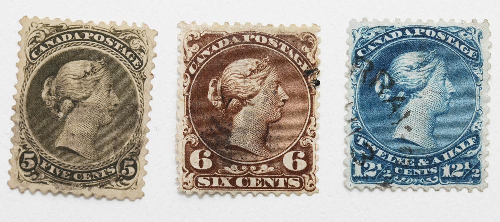 """Canada 3 """"Large Queens"""" Victoria 5c, 6c, 12 1/2c"""