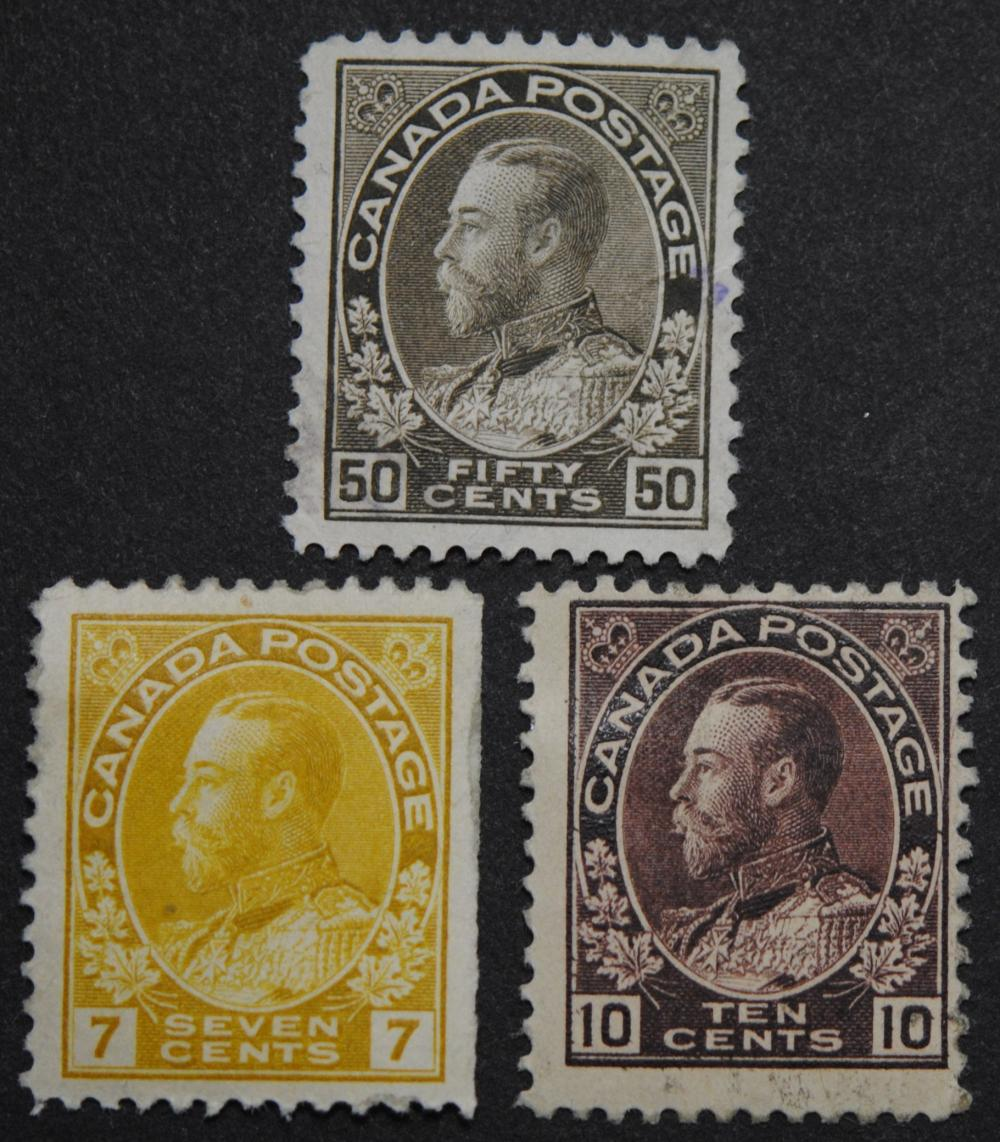 """Canada George V """"Admiral"""" Issue S/C #113, S/C #116, S/C #120 MH"""