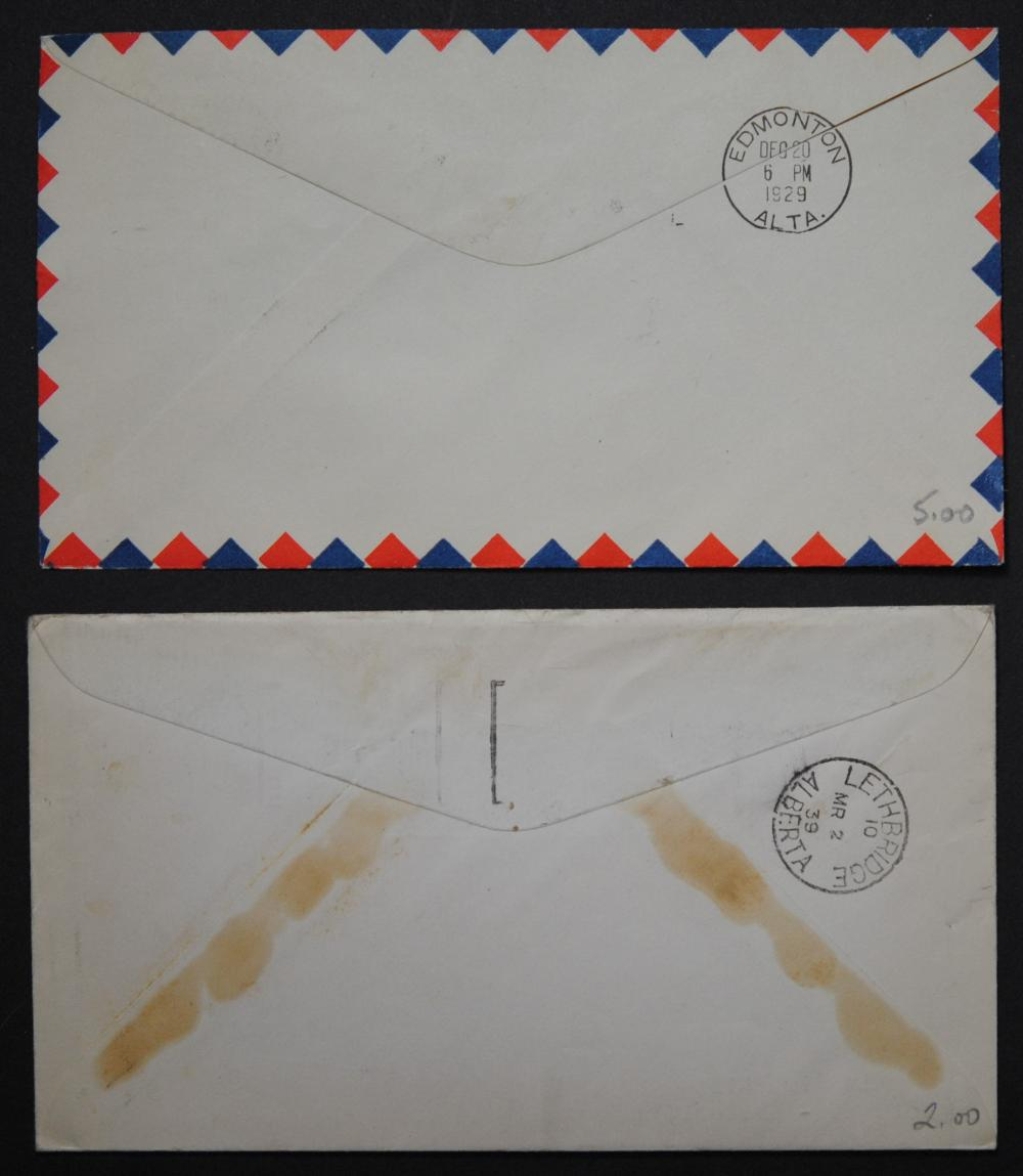 Canada 2- 1929 and 1939 Via Air Mail Covers