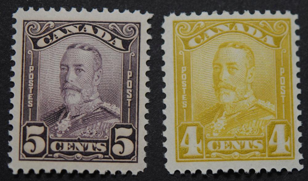 Canada 1928 4c S/C #152 MNH VF, 5c S/C #153 MNH XF