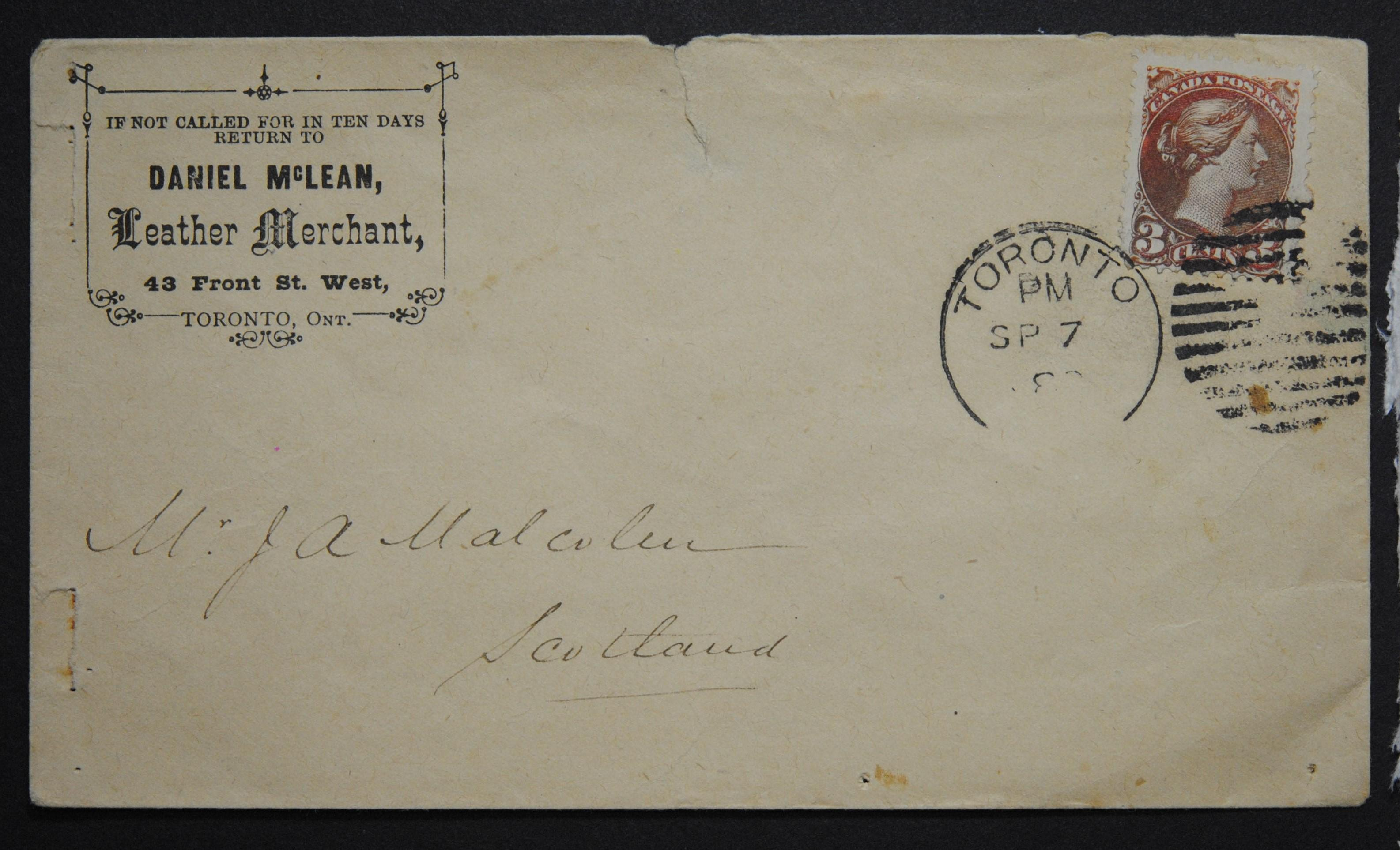 Canada Cover With Victoria Stamp