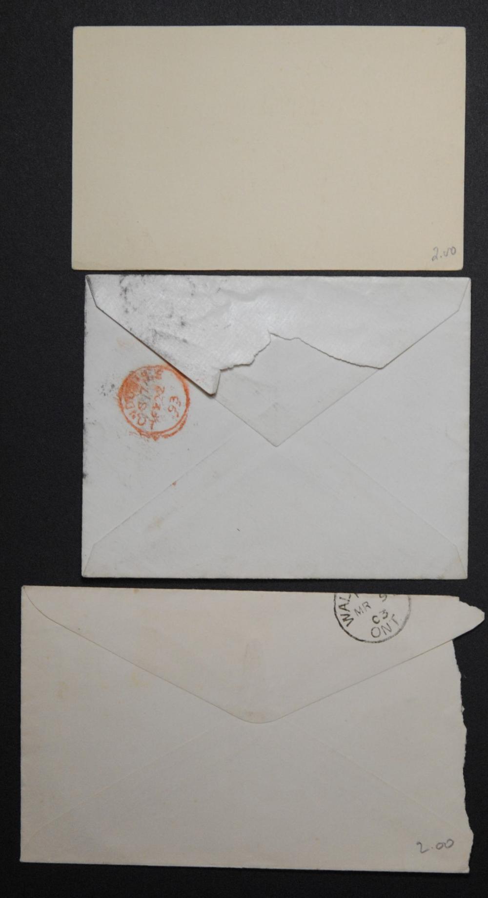 Canada 2 Victoria Covers and 1 Victoria Postcard