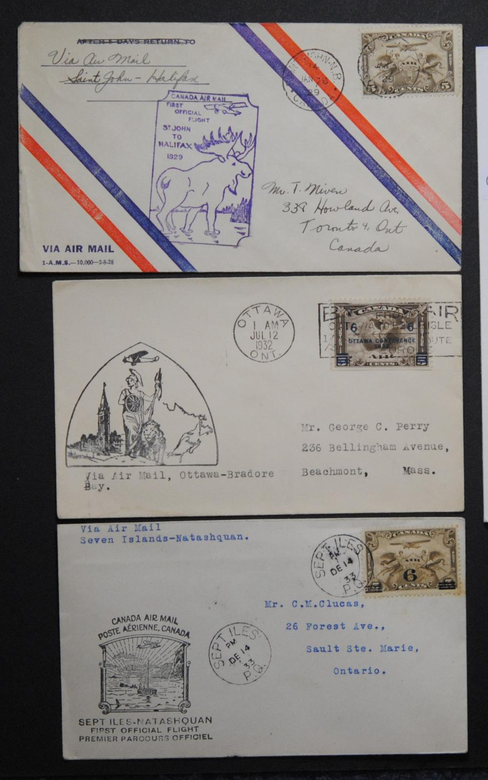 Canada 3 Stamp Covers