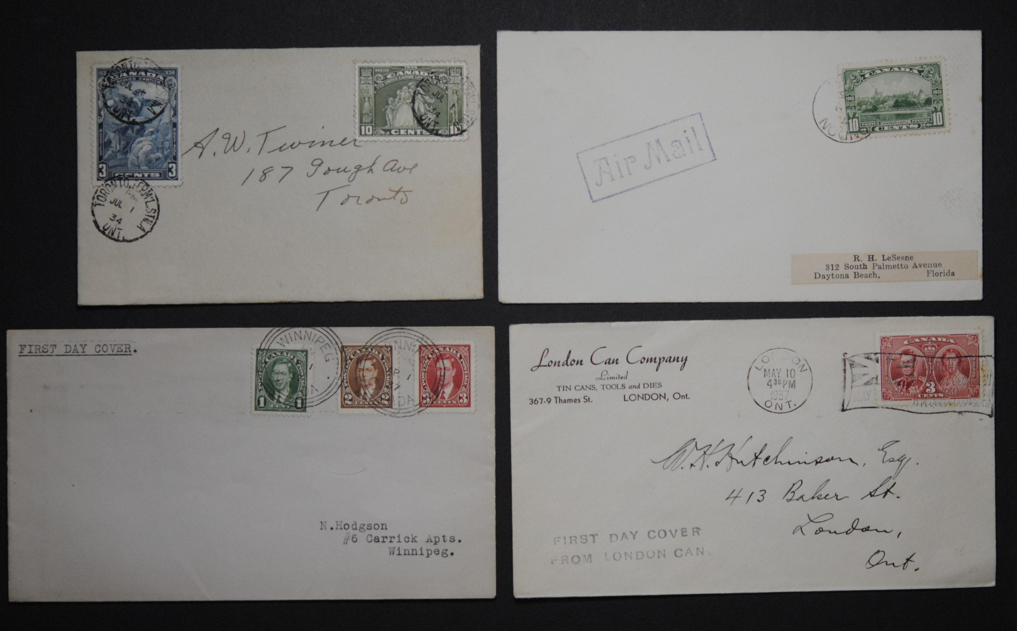 Canada 4 Covers From 1934 and 1937